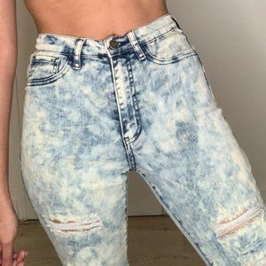 Denim - High Waisted Distressed Jeans